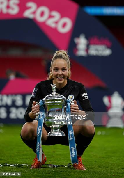 Ellie Roebuck of Manchester City celebrates with the Vitality Women's FA Cup Trophy following her team's victory in the Vitality Women's FA Cup Final...