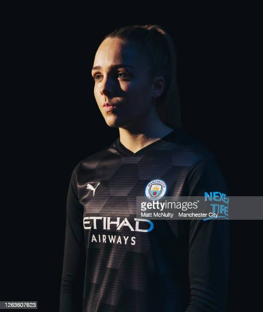 Ellie Roebuck of Manchester City poses wearing the 2020/21 Puma goalkeeper jersey at the City Football Academy on August 03, 2020 in Manchester,...