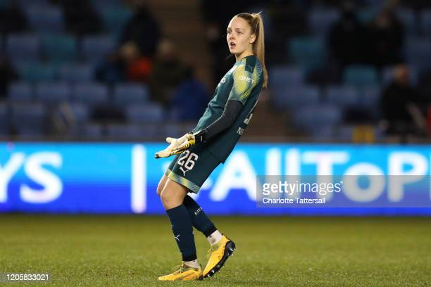Ellie Roebuck of Manchester City reacts during the Barclays FA Women's Super League match between Manchester City and Bristol City at The Academy...
