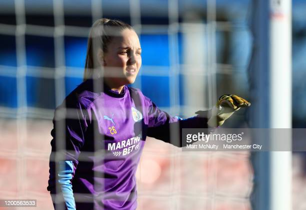 Ellie Roebuck of Manchester City warms up during the Barclays FA Women's Super League match between Birmingham City and Manchester City at Damson...