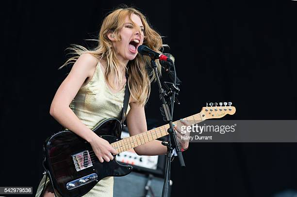 Ellie Rowsell from Wolf Alice performs on The Pyramid Stage Glastonbury Festival 2016 at Worthy Farm Pilton on June 25 2016 in Glastonbury England
