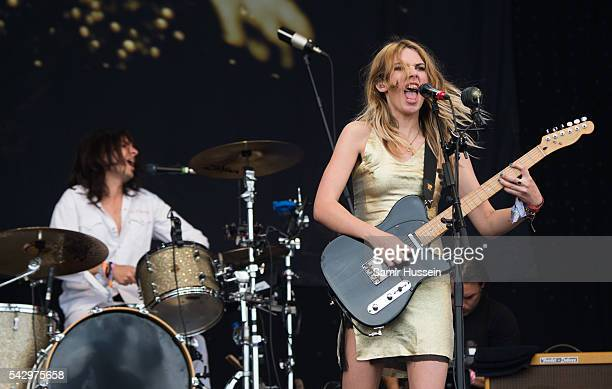 Ellie Rowsell of Wolf Alice performs on the Pyramid Stage at Glastonbury Festival 2016 at Worthy Farm Pilton on June 25 2016 in Glastonbury England
