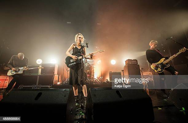 Ellie Rowsell Theo Ellis and Joff Oddie of Wolf Alice performing live on stage at The Institute on September 17 2015 in Birmingham England