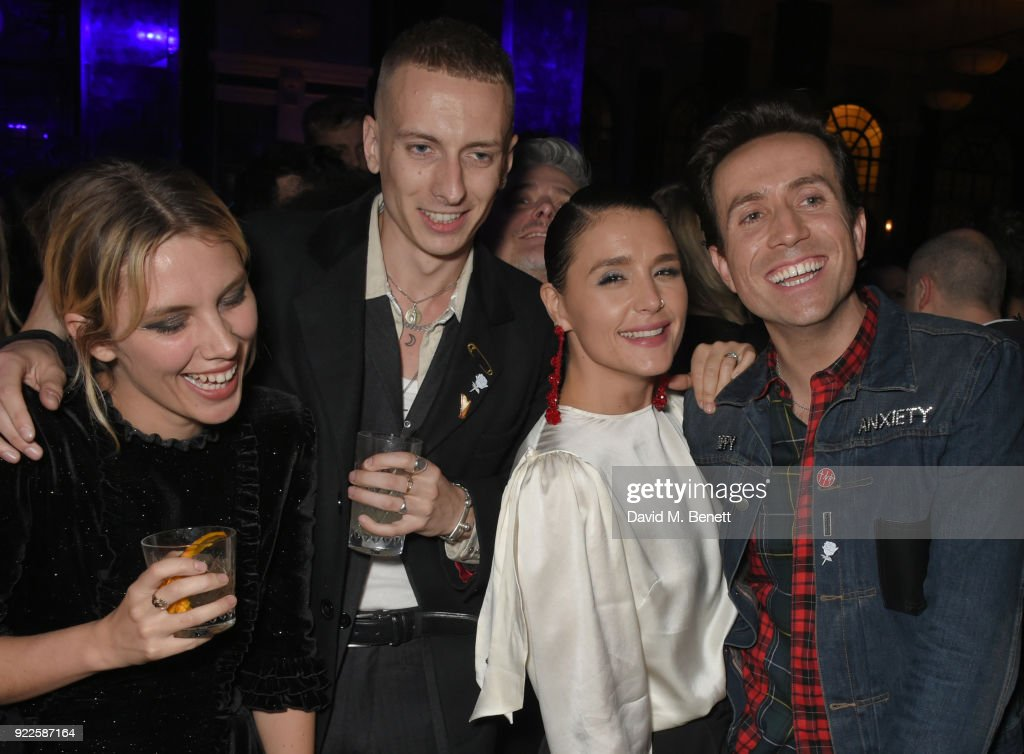 Ellie Rowsell, Theo Ellis, Jessie Ware and Nick Grimshaw attend the Universal Music BRIT Awards After-Party 2018 hosted by Soho House and Bacardi at The Ned on February 21, 2018 in London, England.