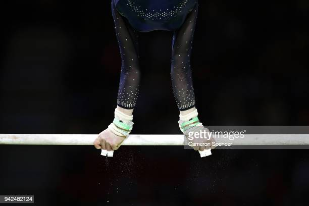 Ellie Russell of Scotland competes in the uneven bars during the Gymnastics Artistic Women's Team Final and Individual Qualification on day two of...