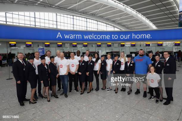 Ellie Simmonds David Coulthard Linford Christie Chris Froome Iwan Thomas Rebecca Adlington and Jade Jones help British Airways customers at Heathrow...