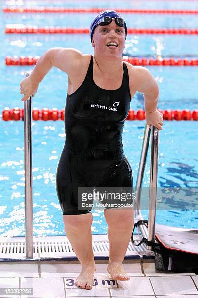 Ellie Simmonds of Great Britain exits the pool after winning gold in the Women's 200m Individual Medley SM6 Final during day four of the IPC Swimming...
