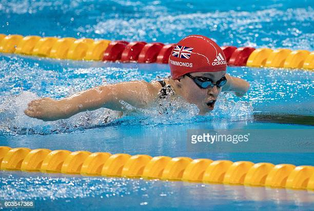 Ellie Simmonds of the UK wins the women's 200m Individual Medley SM6 final setting a world record at the Olympic Aquatics Stadium during the...