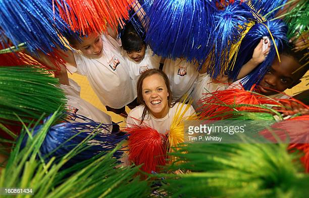 Ellie Simmonds visiting Vaughan Primary School in Harrow as part of Sainsbury's Active Kids 2013 scheme an initiative set up by the supermarket to...