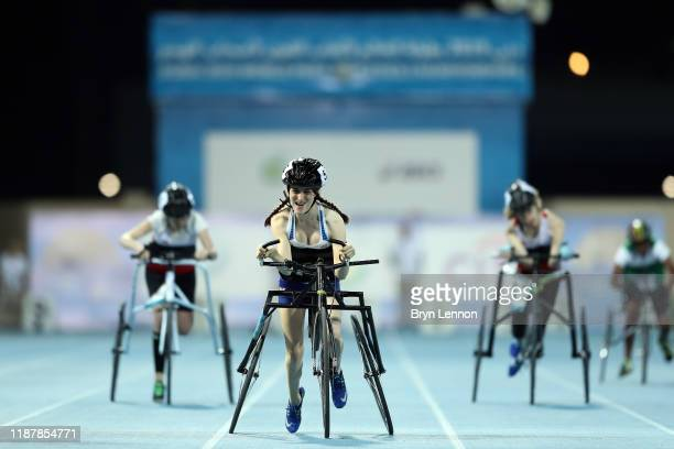 Ellie Simpson of Great Britain in action in the Women's 100m RR3 during Day Nine of the IPC World Para Athletics Championships 2019 Dubai on November...