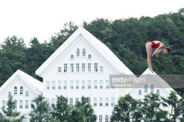 Ellie Smart of the United States competes in the Women's High Dive on day two of the Gwangju 2019 FINA World Championships at Chosun University on...
