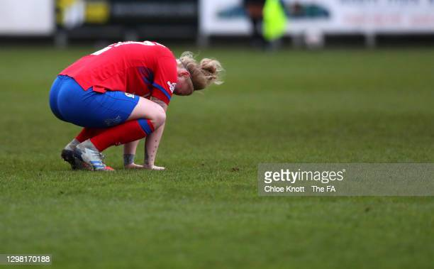 Ellie Stewart of Blackburn Rovers looks dejected after the Barclays FA Women's Championship match between London City Lionesses and Blackburn Ladies...