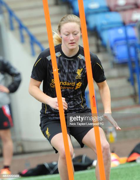 Ellie Stewart of Liverpool Ladies during a preseason training session at Select Security Stadium on March 21 2014 in Widnes England