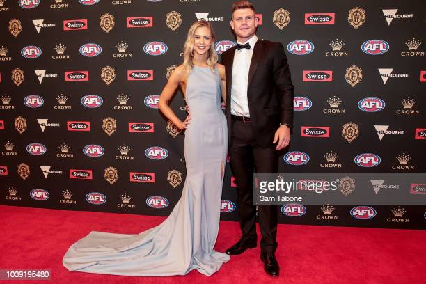 Ellie Thornycroft and Taylor Adams attends 2018 Brownlow Medal at Crown Entertainment Complex on September 24 2018 in Melbourne Australia