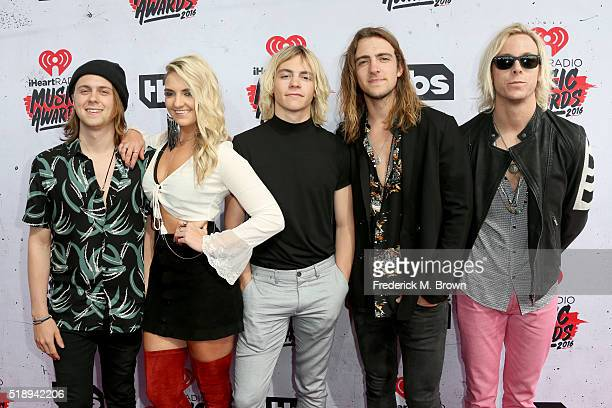 Ellington Ratliff Rydel Lynch Ross Lynch Rocky Lynch and Riker Lynch of musical group R5 attend the iHeartRadio Music Awards at The Forum on April 3...
