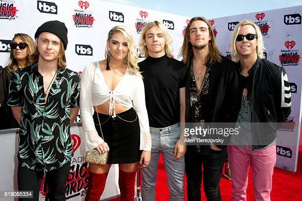 Ellington Ratliff Rydel Lynch Ross Lynch Rocky Lynch and Riker Lynch of musical group R5 arrive at the iHeartRadio Music Awards at The Forum on April...