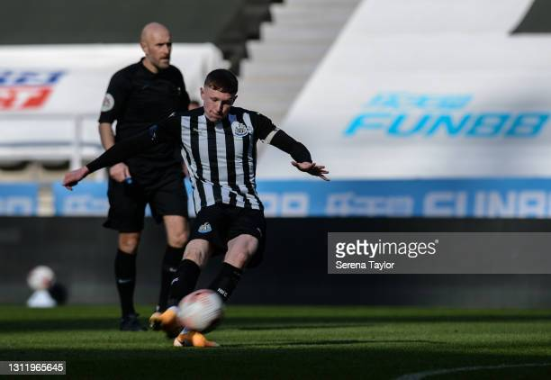 Elliot Anderson of Newcastle United scores the winning goal in injury time of extra time during the fifth round of the FA Youth Cup between Newcastle...