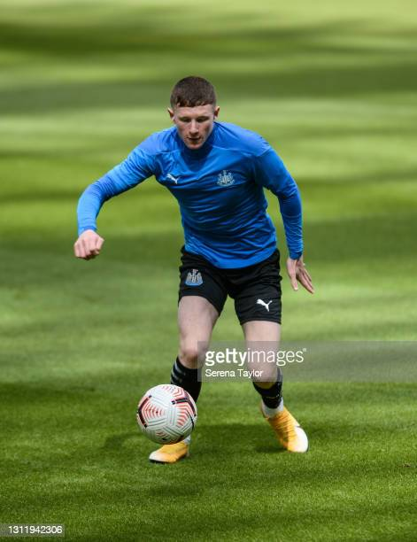 Elliot Anderson of Newcastle United warms up during the fifth round of the FA Youth Cup between Newcastle United and Watford FC at St James' Park on...