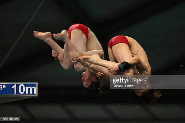 Elliot Beedan and Conrad Lewandowski compete in the Men 10m Synchro finals during day one of the British Diving Championships 2016 at Ponds Forge on...