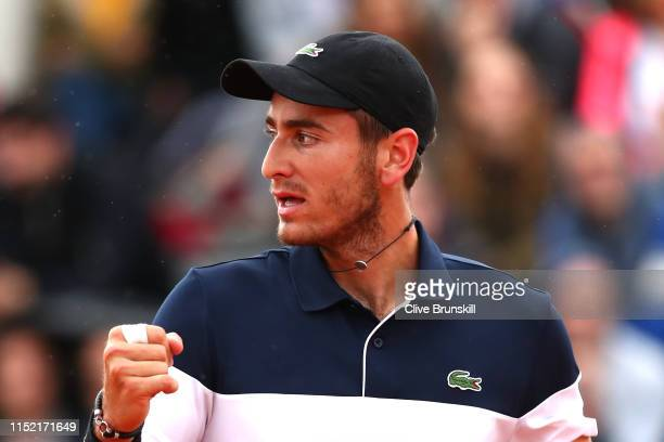 Elliot Benchetrit of France celebrates during his mens singles first round match against Cameron Norrie of Great Britain during Day three of the 2019...