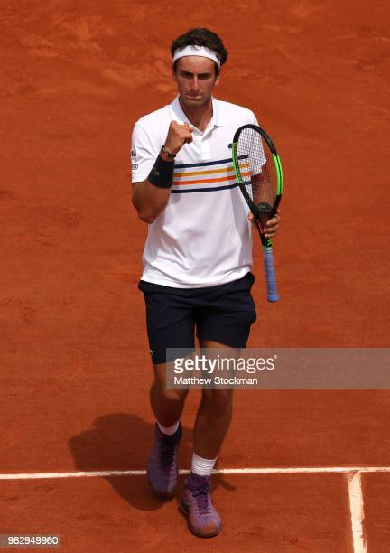 Elliot Benchetrit of France celebrates during his men'serves singles first round match against Gael Monfils of France during day one of the 2018...