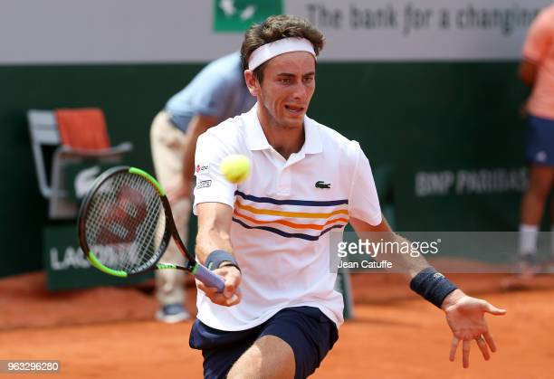 Elliot Benchetrit of France during Day One of the 2018 French Open at Roland Garros stadium on May 27 2018 in Paris France