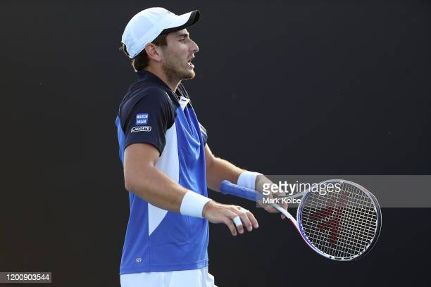 Elliot Benchetrit of France reacts during his Men's Singles first round match against Yuichi Sugita of Japan on day two of the 2020 Australian Open...