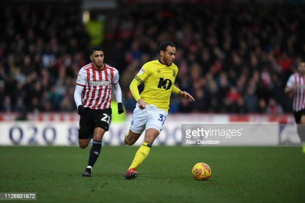 Elliot Benner of Blackburn Rovers breaks away from Said Benrahma of Brentford during the Sky Bet Championship match between Brentford and Blackburn...