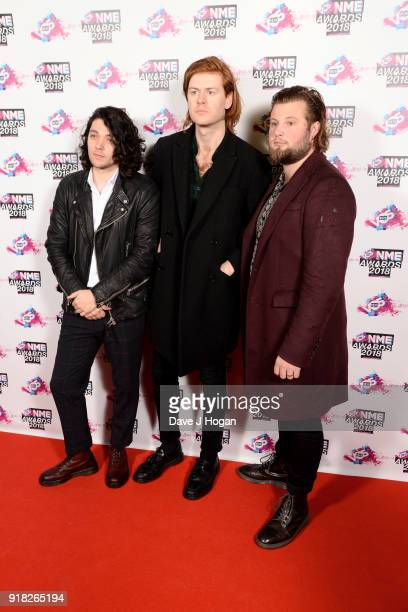 Elliot Briggs Matt Thomson and Joe Emmett of The Amazons attend the VO5 NME Awards held at Brixton Academy on February 14 2018 in London England