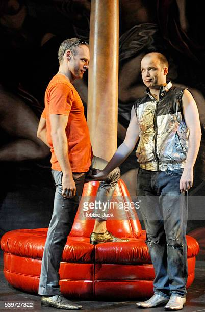 Elliot Cowan and Rory Kinnear perform in Thomas Middleton's play The Revenger's Tragedy at the National Theatre in London