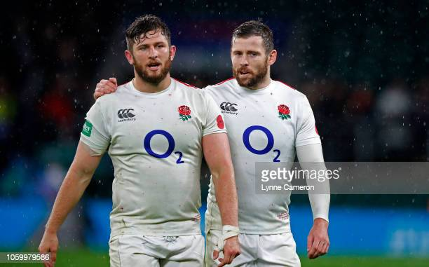 Elliot Daly and Alec Hepburn of England after the Quilter International match between England and New Zealand at Twickenham Stadium on November 10...