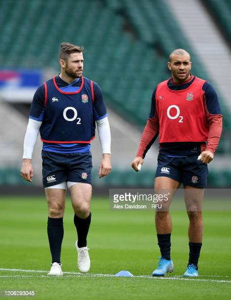 Elliot Daly and Jonathan Joseph of England looks on during an England Open Training Session at Twickenham Stadium on February 14 2020 in London...