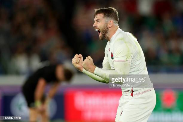 Elliot Daly of England celebrates after winning the Rugby World Cup 2019 SemiFinal match between England and New Zealand at International Stadium...