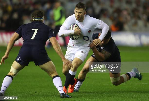 Elliot Daly of England charges upfield during the 2020 Guinness Six Nations match between Scotland and England at Murrayfield on February 08 2020 in...
