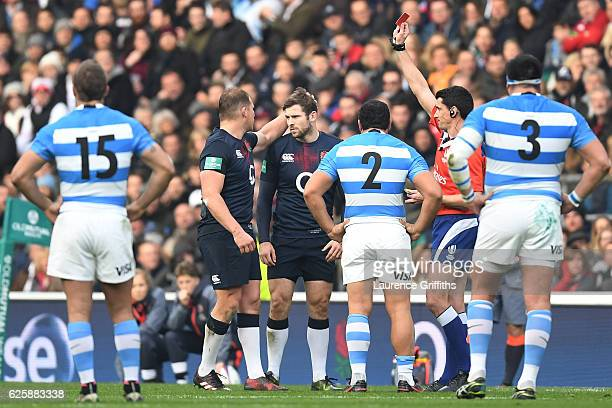 Elliot Daly of England is shown a red card during the Old Mutual Wealth Series match between England and Argentina at Twickenham Stadium on November...