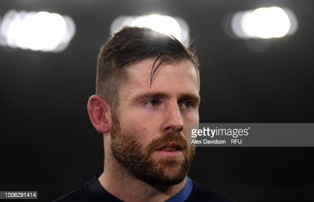 Elliot Daly of England looks on during an England Open Training Session at Twickenham Stadium on February 14 2020 in London England