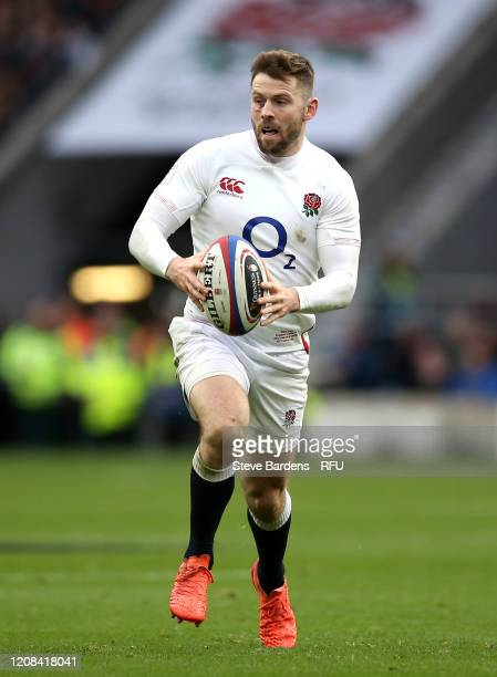 Elliot Daly of England runs with the ball during the 2020 Guinness Six Nations match between England and Ireland at Twickenham Stadium on February 23...