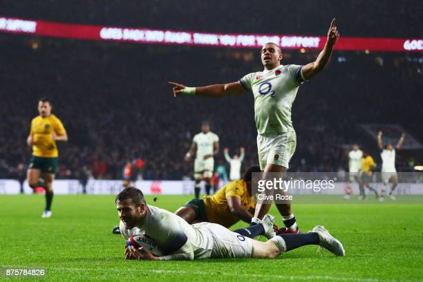 Elliot Daly of England scores a try during the Old Mutual Wealth Series match between England and Australia at Twickenham Stadium on November 18 2017...