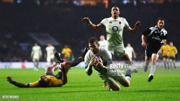 Elliot Daly of England scores his teams first try during the Old Mutual Wealth Series match between England and Australia at Twickenham Stadium on...