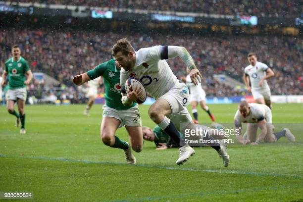 Elliot Daly of England touches down for the second try during the NatWest Six Nations match between England and Ireland at Twickenham Stadium on...
