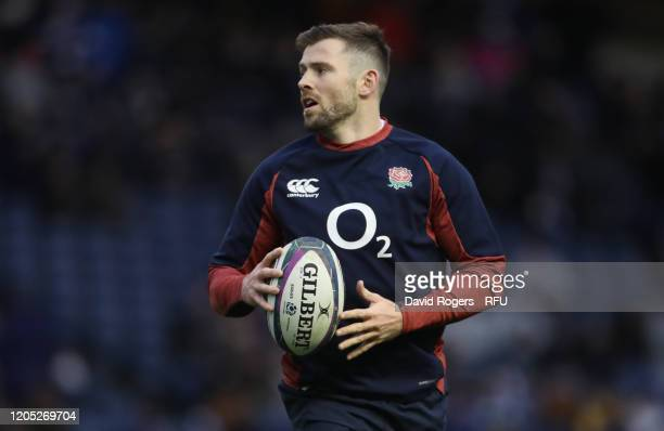 Elliot Daly of England warms up during the 2020 Guinness Six Nations match between Scotland and England at Murrayfield on February 08 2020 in...
