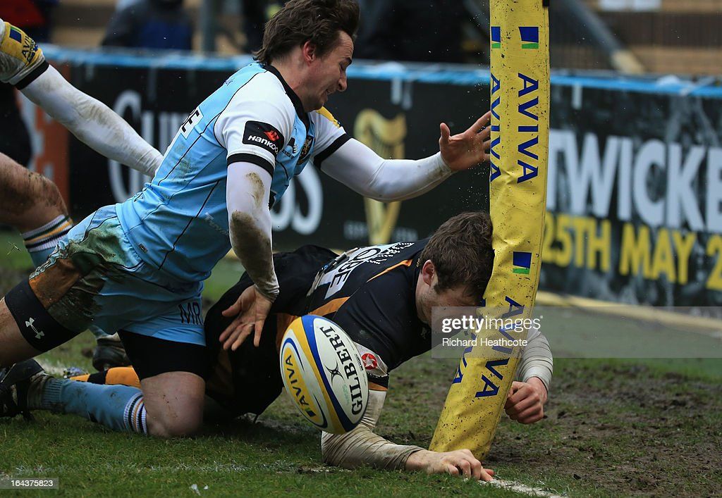 Elliot Daly of London Wasps scores his team's second try during the Aviva Premiership match between London Wasps and Northampton Saints at Adams Park on March 23, 2013 in High Wycombe, England.