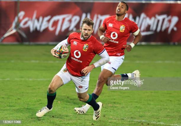 Elliot Daly of The British and Irish Lions goes over to score their side's sixth try during the tour match between Cell C Sharks and the British &...