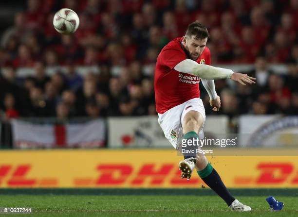 Elliot Daly of the Lions kicks a long range penalty during the third test match between the New Zealand All Blacks and the British & Irish Lions at...