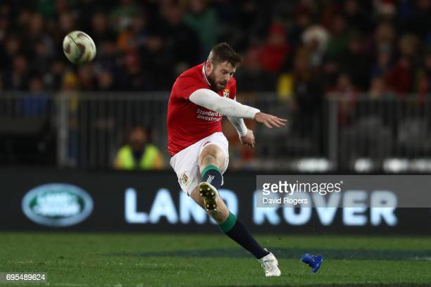 Elliot Daly of the Lions misses a long range penalty kick at goal during the 2017 British Irish Lions tour match between the Highlanders and the...