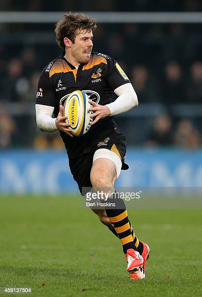 Elliot Daly of Wasps in action during the Aviva Premiership match between Wasps and London Welsh at Adams Park on November 16, 2014 in High Wycombe,...