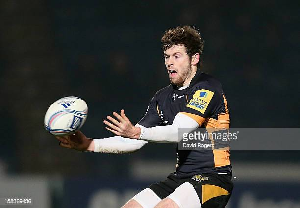 Elliot Daly of Wasps passes the ball during the Amlin Challenge Cup match between London Wasps and Bayonne at Adams Park on December 13 2012 in High...