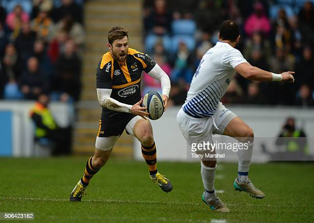 Elliot Daly of Wasps pushes forward during the European Rugby Champions Cup match between Wasps and Leinster Rugby at Ricoh Arena on January 23 2016...