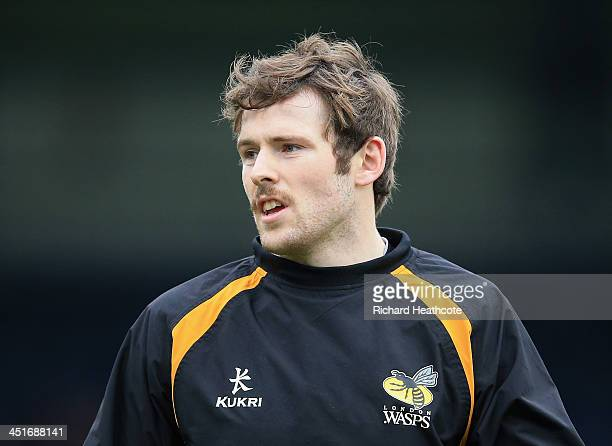 Elliot Daly of Wasps sports a moustache in support of 'Movember' during the Aviva Premiership match between London Wasps and Bath Rugby at Adams Park...