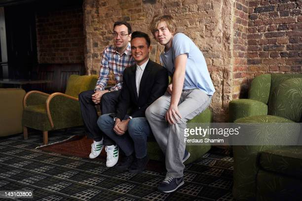Elliot Davis, Gareth Gates and James Bourne part of the Loserville ensemble meet the press at Century Club on April 19, 2012 in London, England.